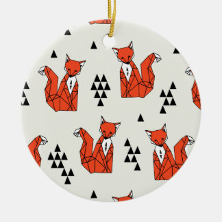 Fox / Red Triangle Geo Geometric / Andrea Lauren Round Ceramic Decoration