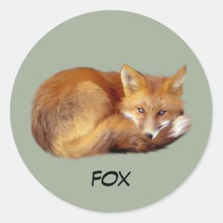 Fox Resting Classic Round Sticker