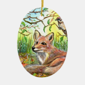 Fox Resting With Sparrow Ceramic Ornament