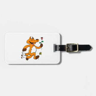 Fox running with a flower luggage tag