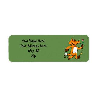Fox running with a flower return address label