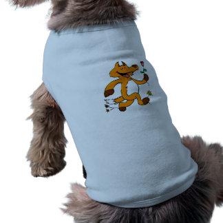 Fox running with a flower shirt