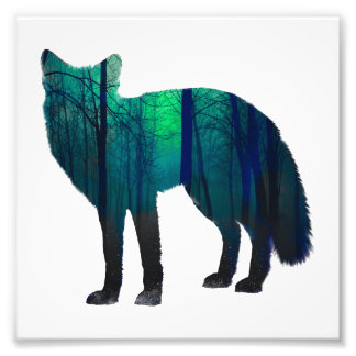 Fox silhouette - forest fox - fox art - wildfox photo print