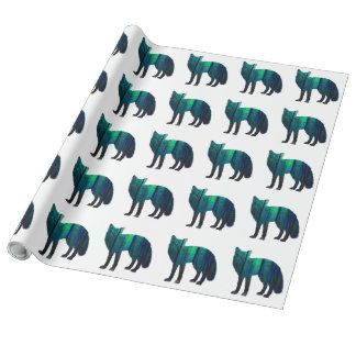 Fox silhouette - forest fox - fox art - wildfox wrapping paper