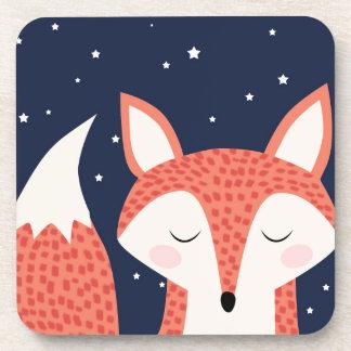 Fox sleeping night stars coasters