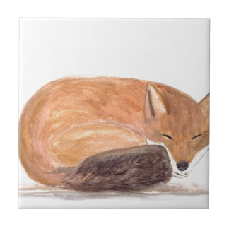 Fox sleeping watercolour tile