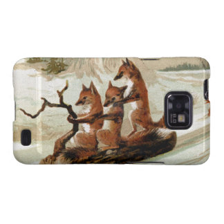 Fox Sleigh Ride Vintage Print Galaxy SII Case