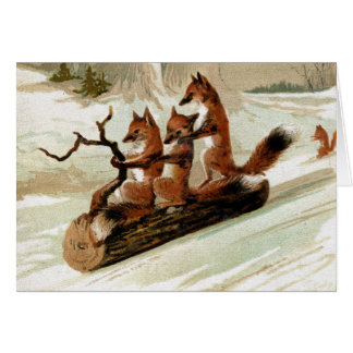 Fox Sleigh Ride Vintage Print Note Card