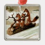 Fox Sleigh Ride Vintage Print Ornaments