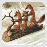 Fox Sleigh Ride Vintage Print Square Sticker