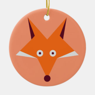 Fox Star Round Ceramic Decoration