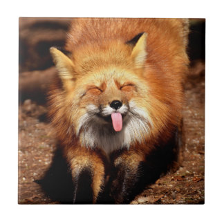 Fox Sticking It's Tongue Out Ceramic Tile