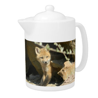 fox teapot, fox coffee pot, fox cub