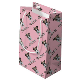 Fox Terrier And Fox Terrier Logo, Pink Small Gift Bag