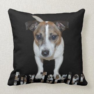 Fox Terrier And Logo, Big Black Throw Cushion