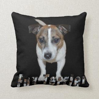 Fox Terrier And Logo, Black Throw Cushion