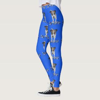 Fox Terrier And Logo, Ladies Blue Leggings
