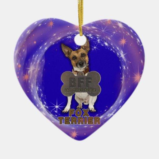 FOX TERRIER BFF DOG TAG HEART CHRISTMAS ORNAMENT