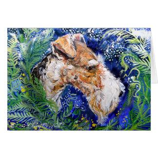 Fox Terrier Blue Greeting Card