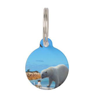 Fox Terrier Meeting A Polar Bear, Pet Name Tag