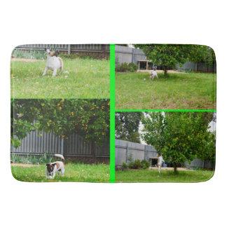 Fox Terrier Photo Collage, Memory Foam Bath Mat