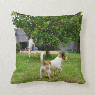 Fox Terrier Play Time Throw Cushion