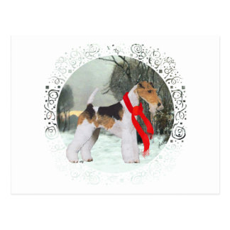 Fox Terrier Winter Postcard