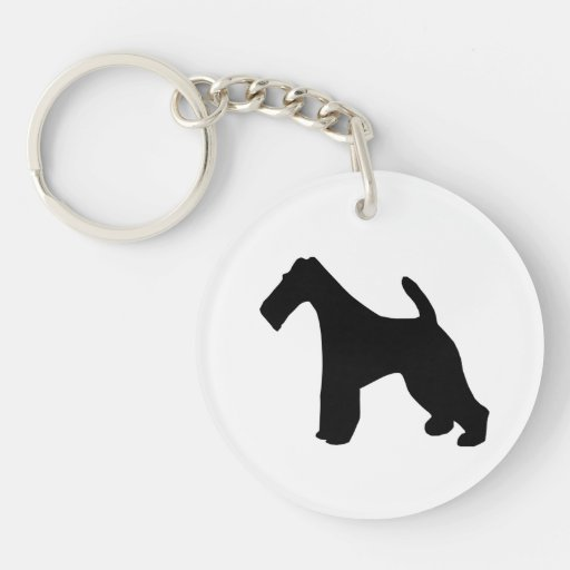 Fox Terrier wire-haired dog black silhouette, gift Round Acrylic Key Chain