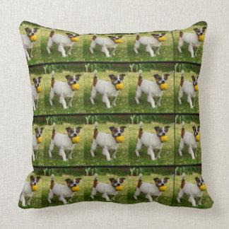 Fox Terrier With His Ball  Big Throw Cushion. Throw Pillow