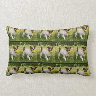 Fox Terrier With His Ball Lumbar Cushion. Lumbar Pillow