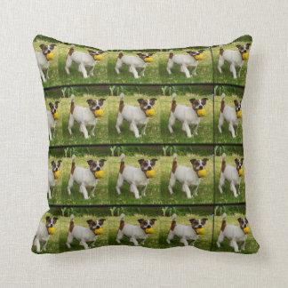 Fox Terrier With His Ball Pattern, Throw Cushion. Throw Pillow