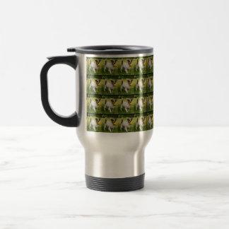 Fox Terrier With His Ball, Travel Coffee Mug. Travel Mug