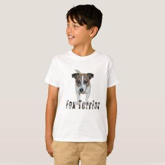 Fox Terrier With Logo, Boys White T-shirt