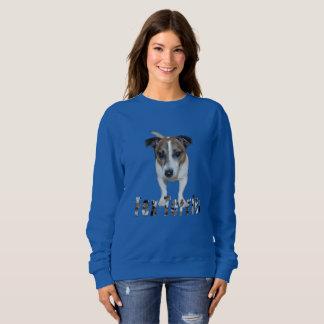 Fox Terrier With Logo, Ladies Blue Sweatshirt