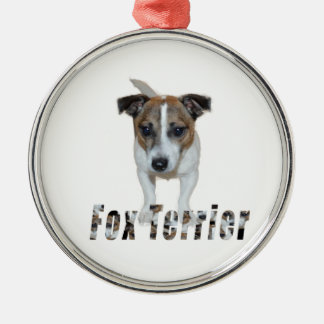 Fox Terrier With Logo, Metal Ornament. Metal Ornament