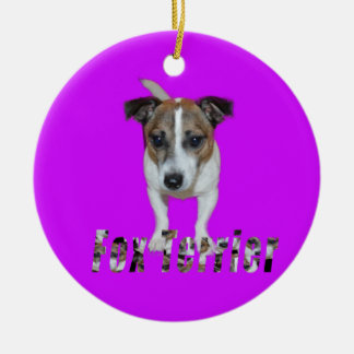 Fox Terrier With Logo, Purple Ceramic Ornament. Ceramic Ornament