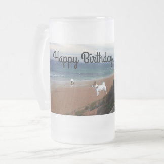 Fox Terriers On The Beach, Birthday Glass Mug