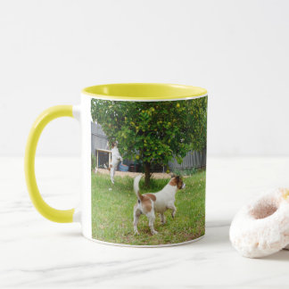 Fox Terriers Playtime, Yellow Combo Coffee Mug
