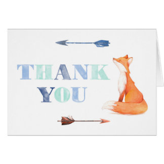fox thank you card, fox stationery card