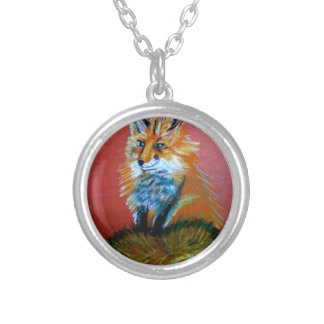Fox Trot Round Pendant Necklace