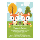 FOX TWINS IN DIAPERS BABY SHOWER CARD