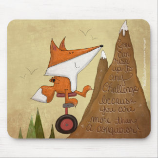 Fox Unicyclist-More Than a Conqueror Mouse Pad