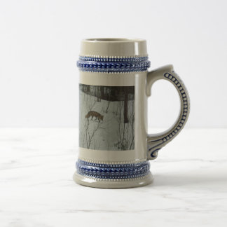 Fox walking in Snow Beer Stein