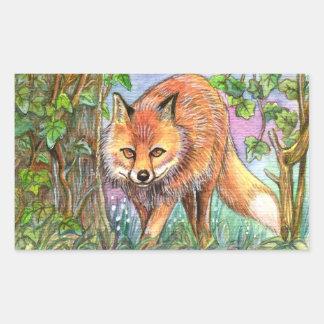 Fox Walking In The Woods Rectangular Sticker