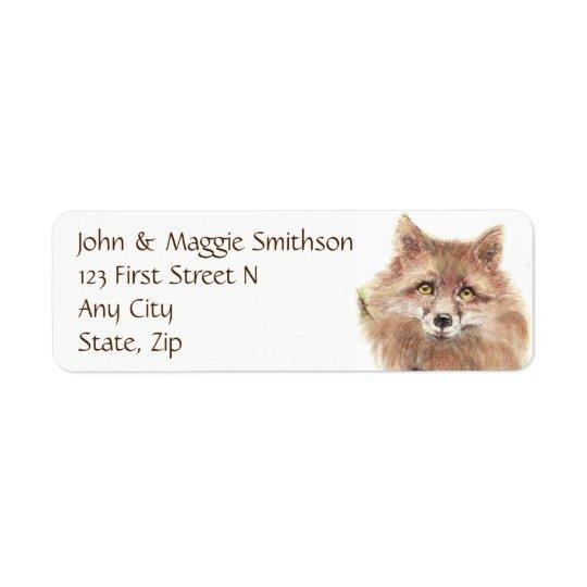 Fox  - Watercolor Animal- Address Label