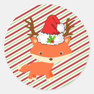Fox Wearing Reindeer Santa Hat First Christmas Classic Round Sticker