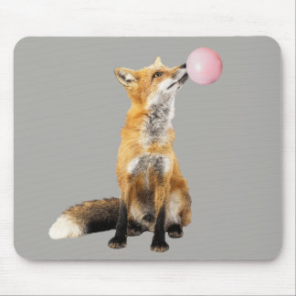 Fox with Bubble Gum Blowing Bubble Cute Mouse Pad