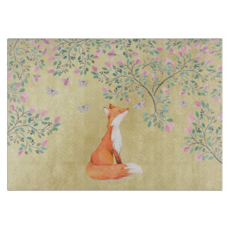 Fox with Butterflies and Pink Flowers Cutting Board