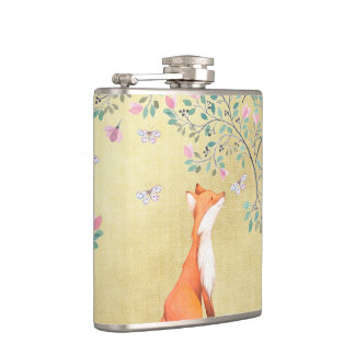 Fox with Butterflies and Pink Flowers Hip Flask