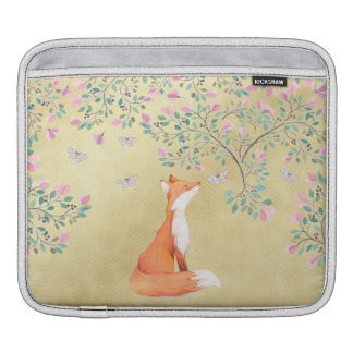 Fox with Butterflies and Pink Flowers iPad Sleeve